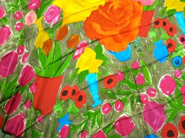 Christian Lacroix(クリスチャンラクロワ) スカーフ カーキ×オレンジ×マルチ 花柄