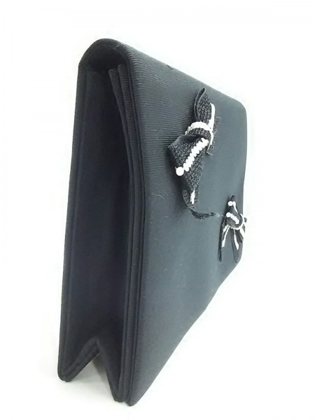 イヴサンローラン クラッチバッグ 黒×白 リボン ジャガード×スパンコール