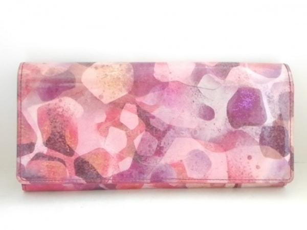 フルッティ ディ ボスコ 長財布 ピンク×パープル×マルチ ラメ エナメル(レザー)