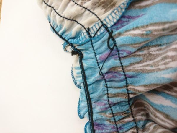 キャロルローズ 半袖カットソー レディース美品  ブルー×アイボリー×マルチ フリル