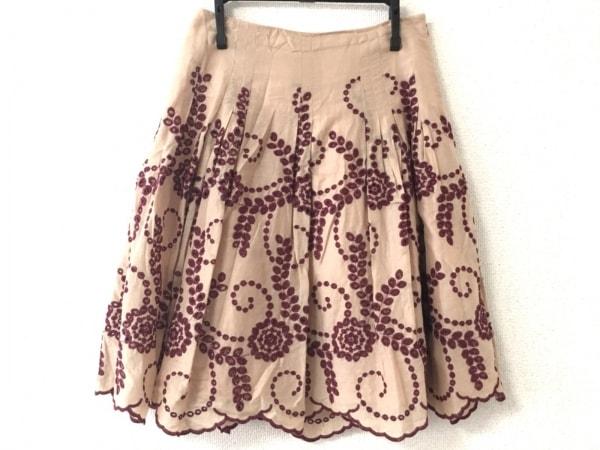 トッカ スカート サイズ1 S レディース美品  - - ベージュ×ボルドー ひざ丈/刺繍
