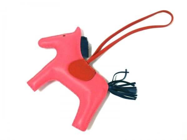 エルメス キーホルダー(チャーム) ロデオチャームGM ピンク×ネイビー×ブラウン 馬