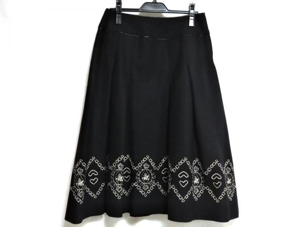 HIROKO BIS(ヒロコビス) スカート サイズ11 M レディース美品  黒×アイボリー 刺繍