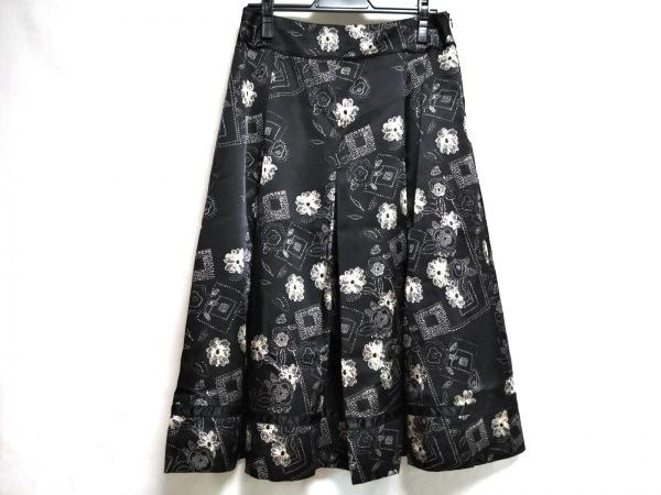 HIROKO BIS(ヒロコビス) スカート サイズ11 M レディース美品  黒×ベージュ フラワー