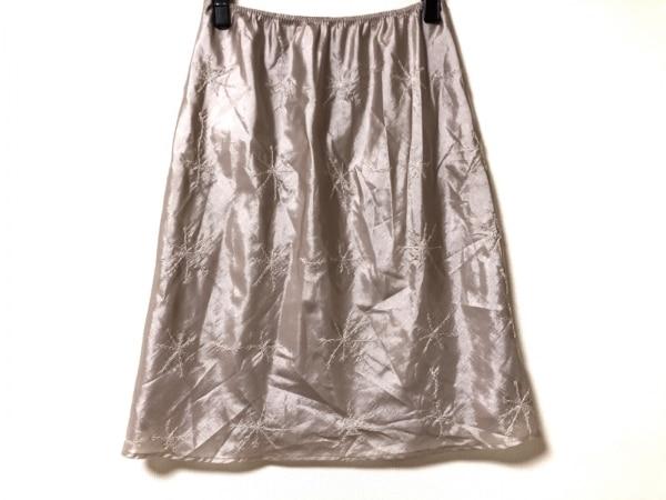 ニジュウサンク スカート サイズ40 M レディース美品  ベージュ ウエストゴム/刺繍