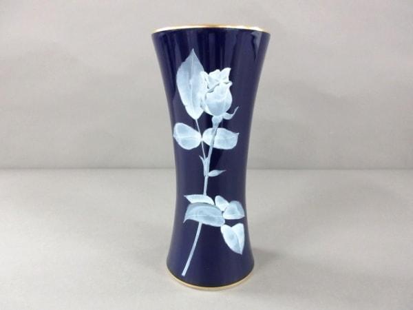 香蘭社(コウランシャ) 小物美品  ネイビー×ライトブルー×白 花瓶 陶器