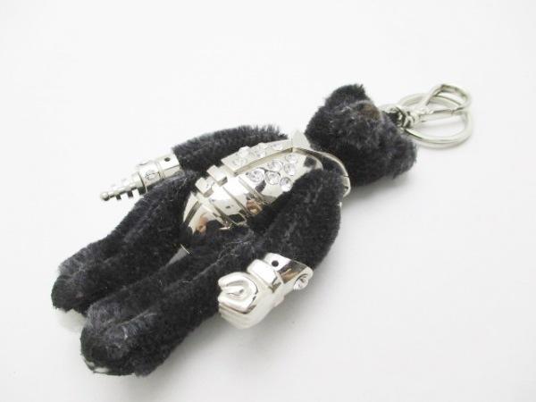 PRADA(プラダ) キーホルダー(チャーム) 黒×シルバー クマ 化学繊維×ラインストーン