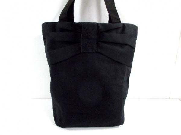 イヴサンローランパフューム トートバッグ美品  黒 リボン キャンバス×サテン