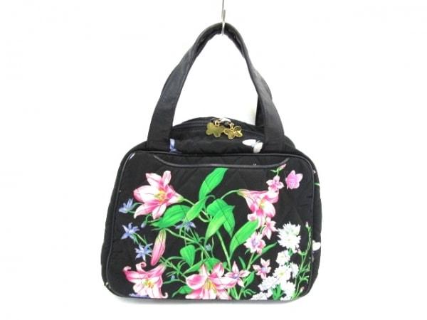 ハナエモリ ハンドバッグ 黒×グリーン×ピンク 花柄/キルティング コットン×レザー