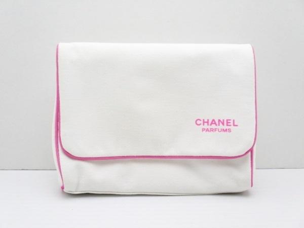 CHANEL PARFUMS(シャネルパフューム) ポーチ 白×ピンク 化学繊維