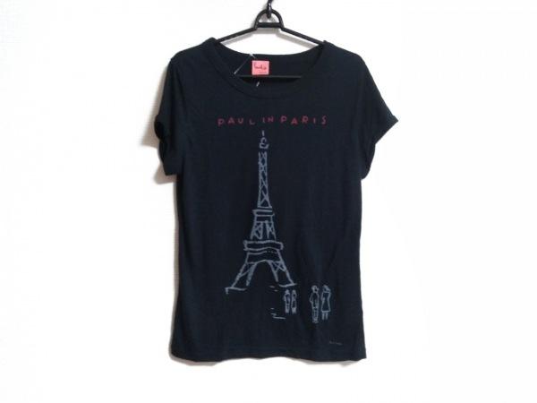 ポールスミスプラス 半袖Tシャツ サイズXL レディース 黒×グレー×レッド タワー