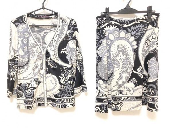 レオナール スカートセットアップ サイズLL レディース美品  アイボリー×黒×マルチ