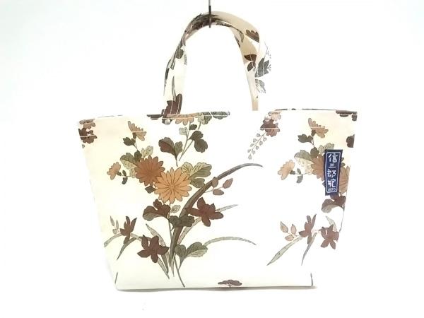 イチザワシンザブロウハンプ トートバッグ アイボリー×マルチ 花柄 キャンバス