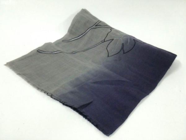 ジムトンプソン ストール(ショール) 黒×パープル×グレー×マルチ フラワー/刺繍