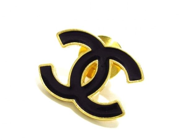 CHANEL(シャネル) ブローチ 金属素材 ゴールド×黒 ココマーク/ピンブローチ