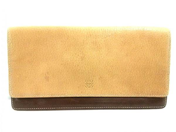 LOEWE(ロエベ) 財布 - ベージュ×ダークブラウン レザー