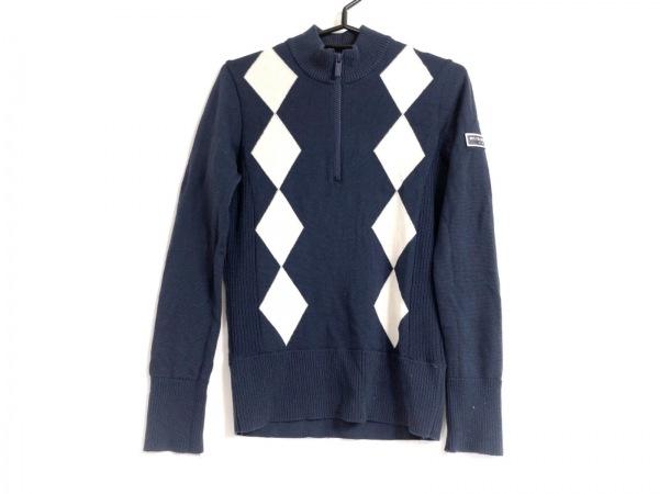 バーバリーゴルフ 長袖セーター サイズM レディース ネイビー×アイボリー