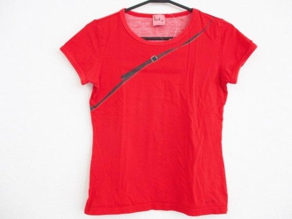 ポールスミスプラス 半袖Tシャツ サイズM レディース レッド×ダークブラウン×マルチ