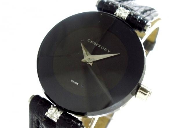 センチュリー 腕時計美品  タイムジェム - レディース K18WG/型押し革ベルト/4Pダイヤ
