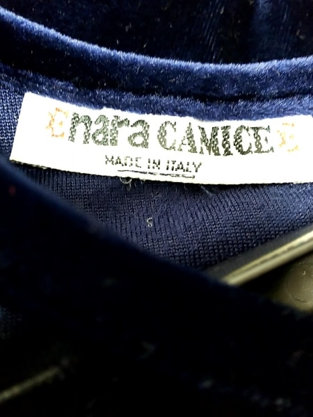 ナラカミーチェ 半袖カットソー レディース ネイビー×マルチ ベロア/フラワー/刺繍