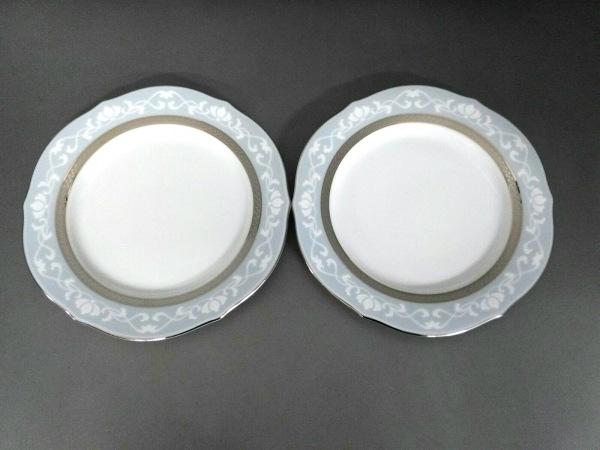Noritake(ノリタケ) プレート新品同様  白×ライトブルー×シルバー 2枚セット 陶器