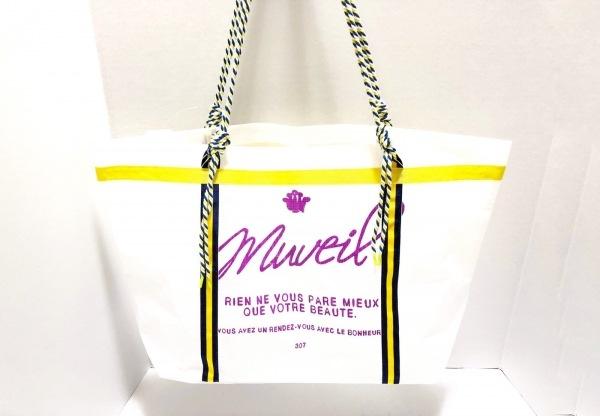 MUVEIL(ミュベール) トートバッグ美品  白×イエロー×ネイビー ポリエチレン