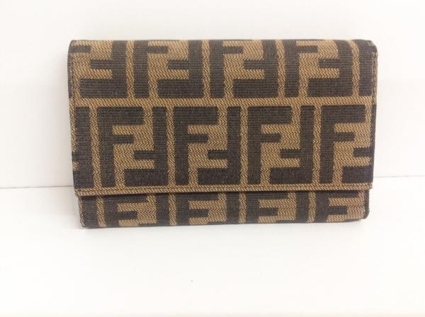 FENDI(フェンディ) 3つ折り財布 ズッカ柄 8M0011 黒×ブラウン ジャガード