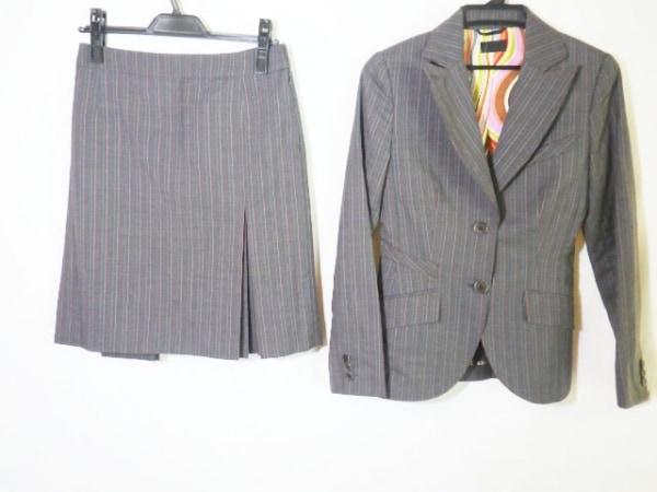 ポールスミスブラック スカートスーツ サイズ38 M レディース美品  グレー×レッド