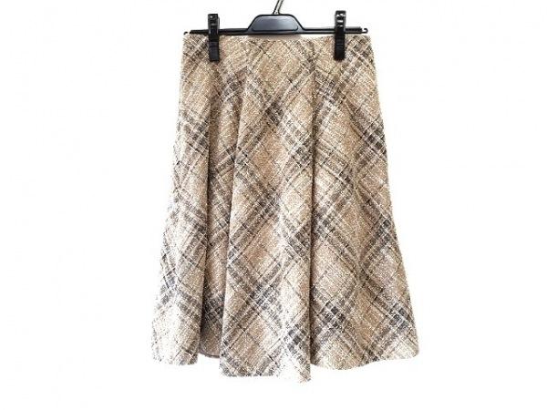 ジユウク スカート サイズ38 M レディース ブラウン×黒 ツイード/チェック柄