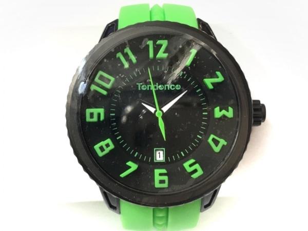 TENDENCE(テンデンス) 腕時計美品  - メンズ ラバーベルト 黒×ライトグリーン