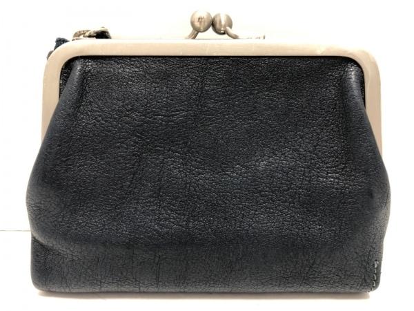 ツチヤカバンセイゾウショ 2つ折り財布美品  ダークネイビー がま口 レザー