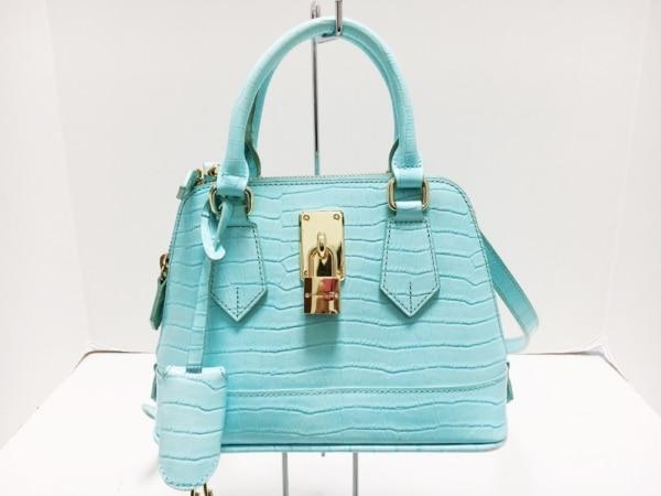 Samantha Thavasa(サマンサタバサ) ハンドバッグ美品  ライトブルー 型押し加工 合皮