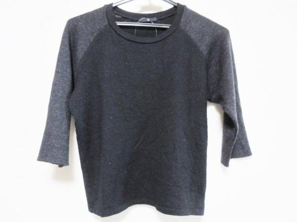 Y's(ワイズ) 七分袖セーター レディース 黒×ダークグレー