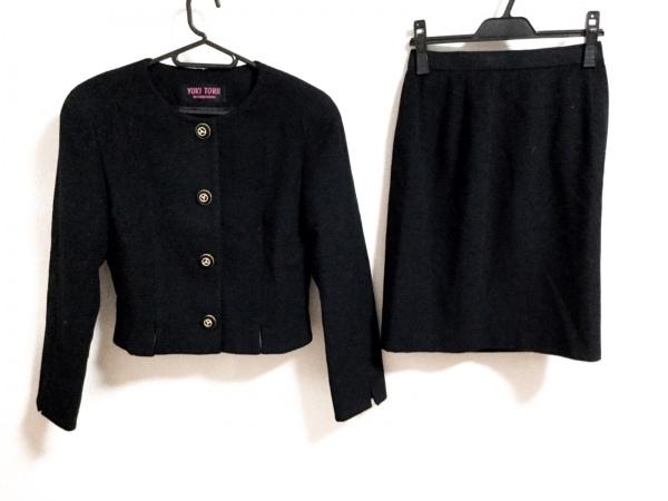 YUKITORII(ユキトリイ) スカートスーツ サイズ9 M レディース美品  黒 肩パッド