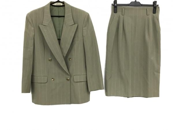ニューヨーカー スカートスーツ サイズM レディース美品  グレージュ ストライプ