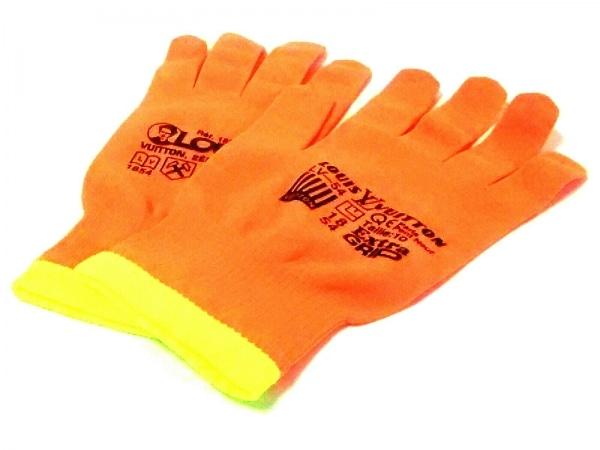ルイヴィトン 手袋 メンズ美品  ゴン・アールジービー MP2371 オレンジ×イエロー