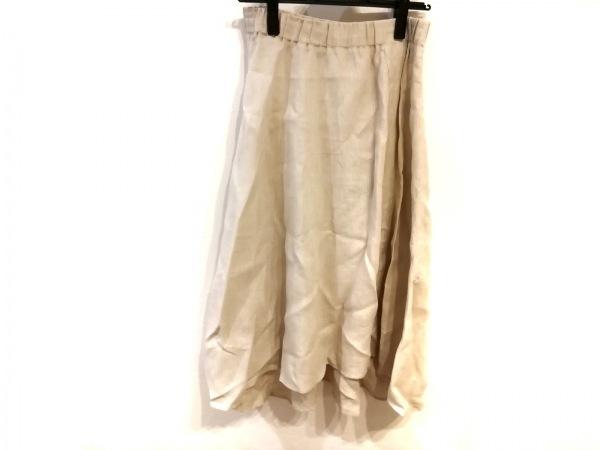 スリードッツ ロングスカート サイズS レディース美品  ベージュ ウエストゴム