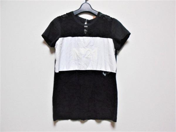 ヌメロ ヴェントゥーノ 半袖カットソー サイズ38 M レディース 黒×白 シースルー