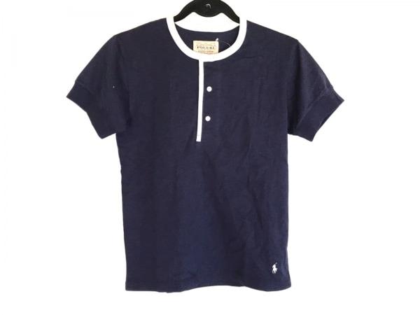 ポロラルフローレン 半袖Tシャツ サイズS レディース ネイビー×白