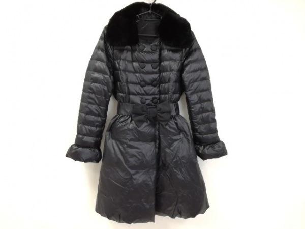 トゥービーシック ダウンコート サイズ40 M レディース美品  黒 ファー/リボン/冬物