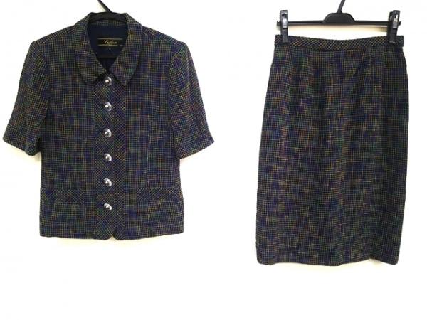 Leilian(レリアン) スカートスーツ サイズ9 M レディース美品  黒×マルチ