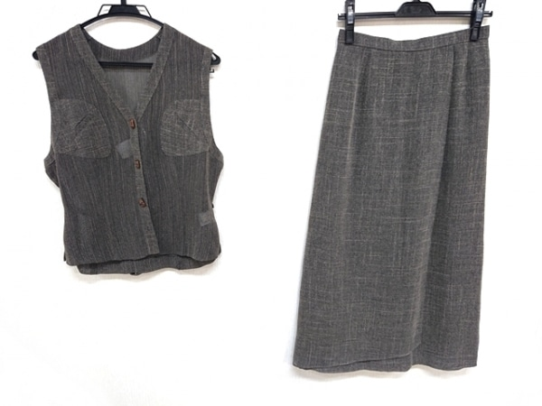 レリアン スカートセットアップ サイズ9 M レディース美品  ダークグレー×アイボリー