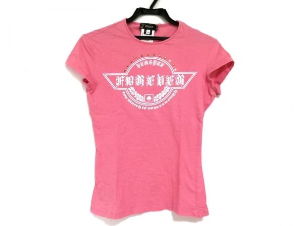 ヴェルサーチ 半袖Tシャツ サイズ2 M レディース ピンク×アイボリー×ゴールド