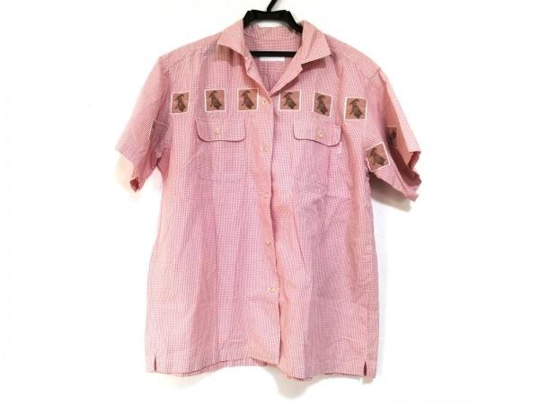 ピンクハウス 半袖シャツブラウス レディース アイボリー×ピンク チェック柄