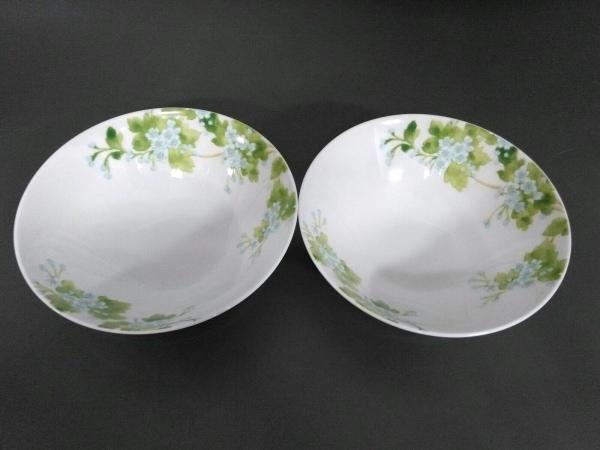 ティファニー 食器新品同様  TIFFANY LEAVES 白×グリーン ボウル×2セット 陶器