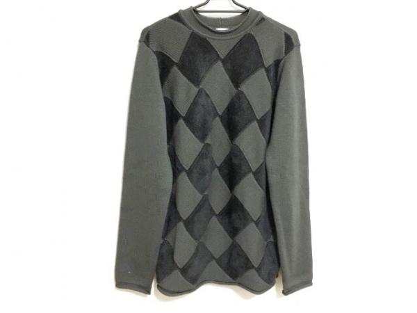 アルマーニコレッツォーニ 長袖セーター サイズ48 M メンズ グレー×ダークグレー
