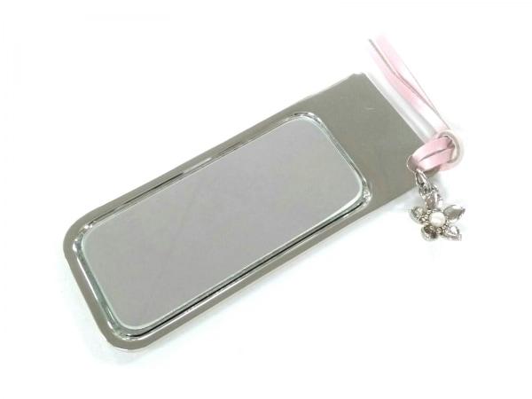 ミキモト ミラー美品  ピンク×シルバー×白 パール 金属素材×ガラス×パール