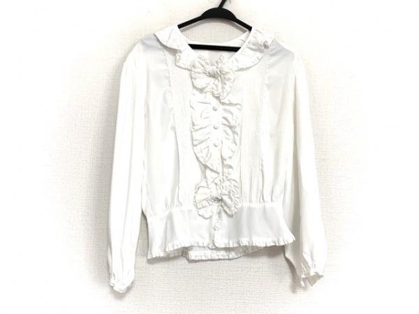 インゲボルグ 長袖シャツブラウス レディース美品  白 フリル/リボン/肩パッド