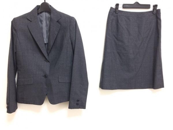 コムサイズム スカートスーツ サイズL レディース ダークグレー×グレー