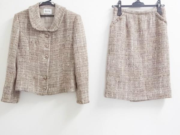 インゲボルグ スカートスーツ レディース新品同様  ブラウン ツイード/肩パッド